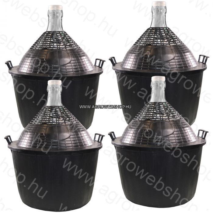 4 DB 34 L-ES DEMIZSON MŰANYAG BORÍTÁSÚ ÜVEGBALLON 6460 FT/DB - AMBROSIO LTD. olasz gyártású levehető műanyaggal bevont áttetsző üvegek